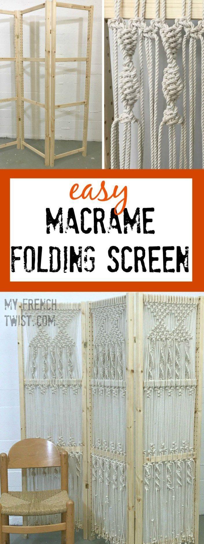easy macrame folding screen | Diy room divider, Macrame ...