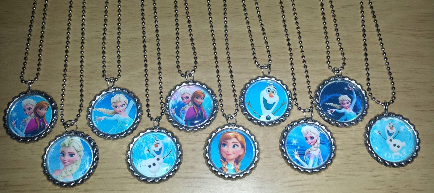 "Set of 10 ""FROZEN"" Flat Bottlecap Necklaces! Fast Shipping!!"