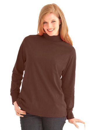 9ea7f6b137c Amazon.com  Woman Within Plus Size Modern Fit Perfect Mock Turtleneck Tee   Clothing