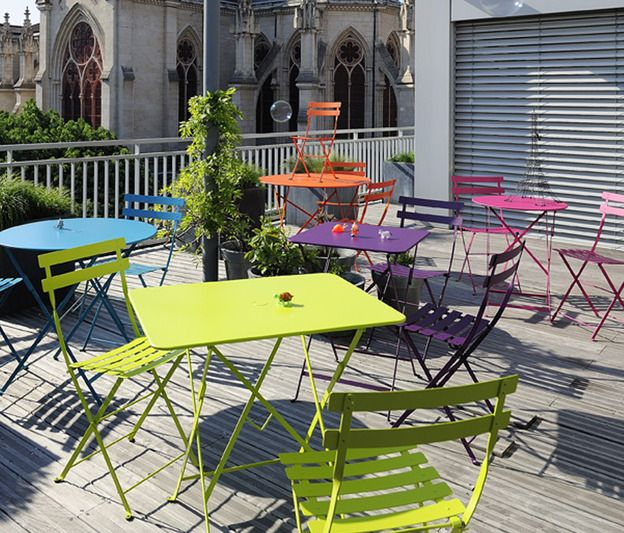 Fermob bistro chairs and tables in a rainbow of colours | Rainbow Is ...