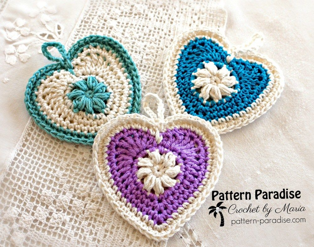 free crochet pattern for heart sachet or candy pouch by pattern ...