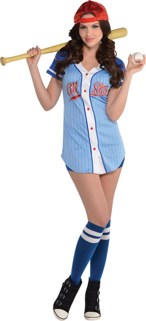 Adult Baseball Babe Costume - Party City  sc 1 st  Pinterest & Adult Baseball Babe Costume | Pinterest | Costumes and Halloween ...