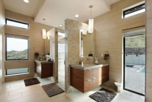 Badezimmer Ideen Design Beige Fliesen Mosaik Holz Waschunterschrank