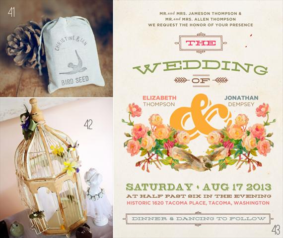 50 best bride wedding ideas: #41-43 bird seed bag, bird cage, bird wedding invitations (via Emmaline Bride)