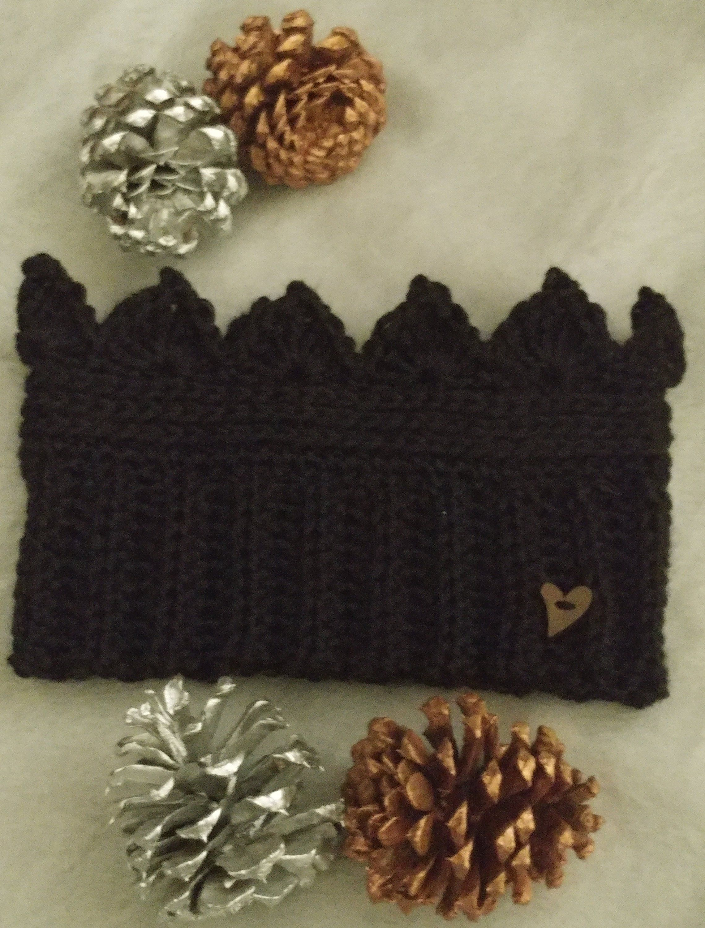 Crown Crochet Earwarmer in Black #crownscrocheted Crown Crochet Earwarmer in Black by hipcrochet on Etsy #crownscrocheted