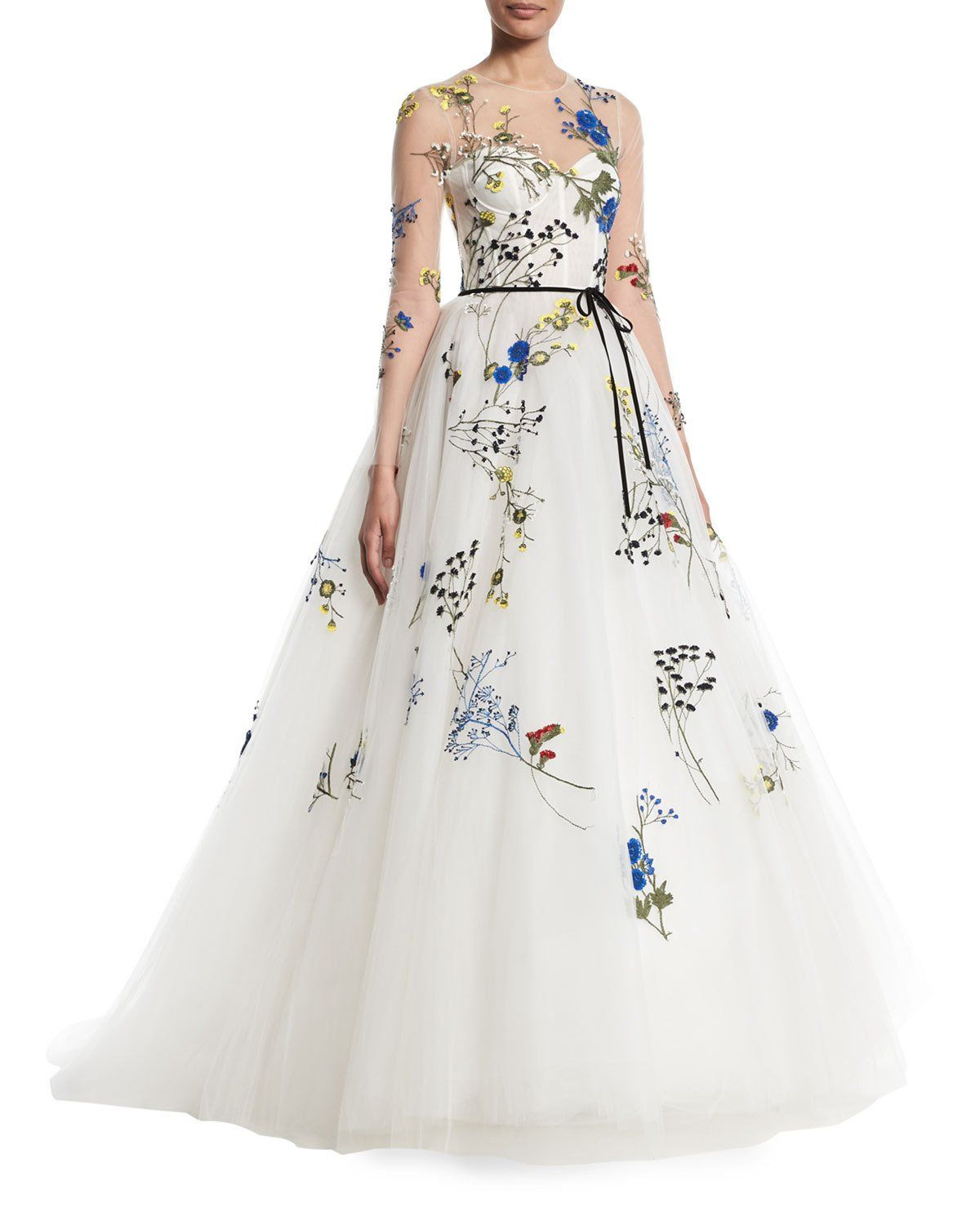 8f573ba3c80 Monique Lhuillier Floral-Embroidered Long-Sleeve Illusion A-Line Evening  Gown