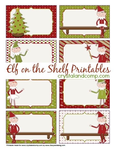 Elf On The Shelf Printables Blank Note Cards  Elves Note Cards