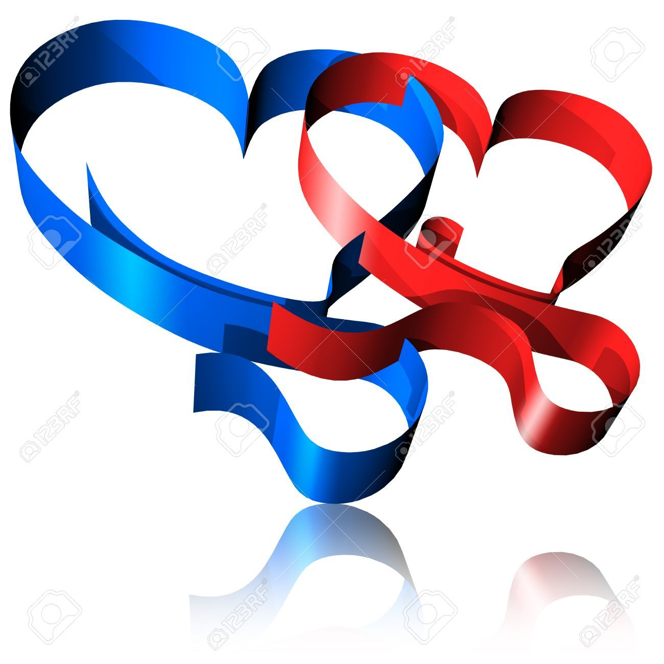 Red And Blue Ribbon Hearts-3d Stock Photo, Picture And Royalty ...