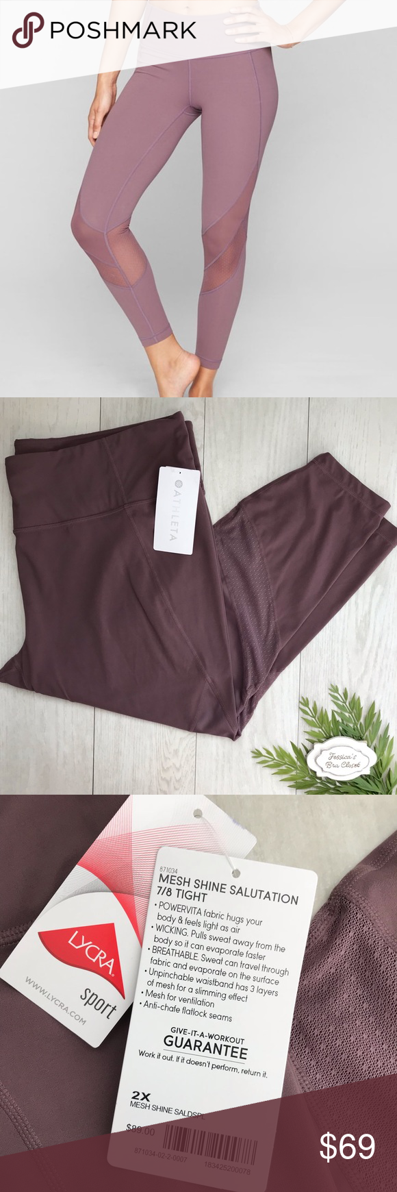 f581cf4f0bdd5 ATHLETA⭐️2X Mesh Shine Salutation 7/8 Tight NWT Brand new with tags! NWT  Athleta Mesh Shine Salutation Tights Retail: $89 Color: Dusty Plum - mauve  pink ...