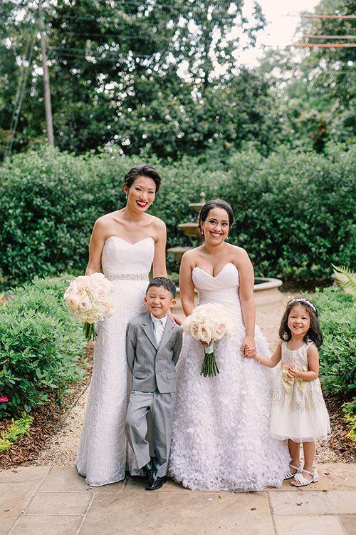 Same-Sex Spring Wedding in Atlanta, Georgia, Brides with Flower Girl and  Ring Bearer | Brides.com