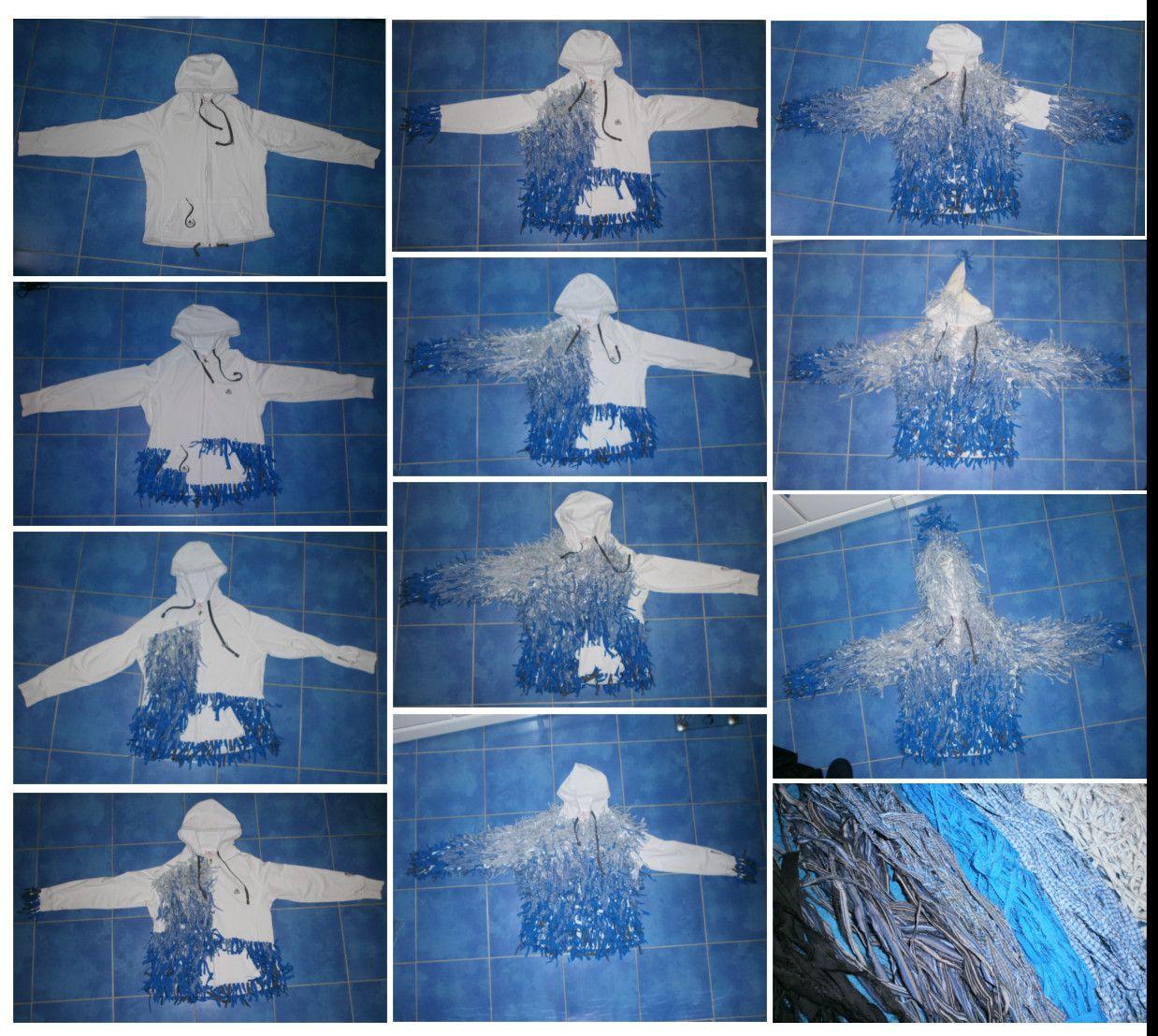 Masopust 2015 Kuřim, maska hejkal (laufer), postup šití kostýmu, bunda, modrá kombinace