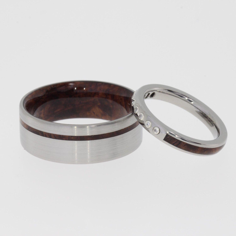 His and Hers Wedding Ring Set with Honduran Rosewood Burl Mens
