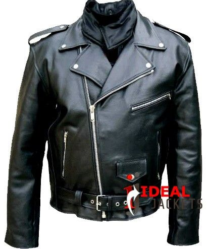 Black Leather Biker Jacket For Men With Heavy Duty Zippers $140.00 ...