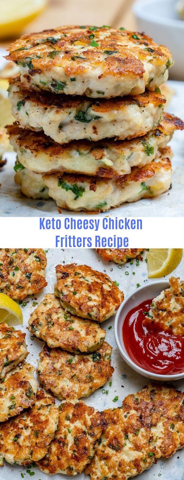 Keto Cheesy Chicken Fritters Recipe #ketomealplan