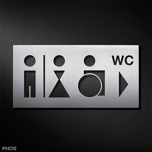 Wc Toilettenschild Behinderte Rollstuhlfahrer Herren Damen Richtungspfeil Wc Piktogramm Kombination Ps0213 Wc Schild Piktogramm Schilder Design