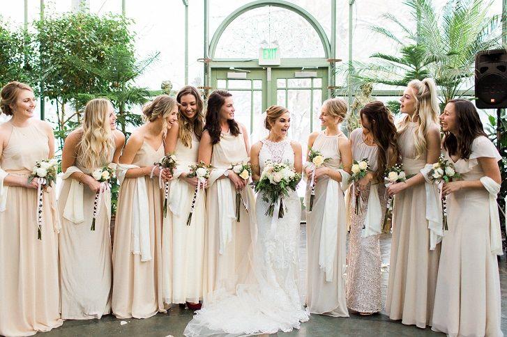 Neutral color palette , champagne bridesmaid dresses #bridesmaids #champagnewedding