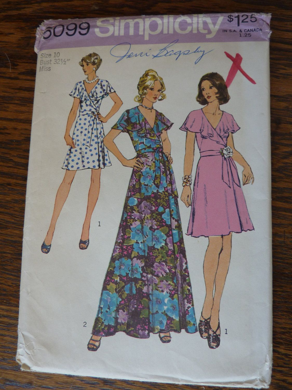 Vtg us cape collar wrap dress w long or short skirt size uncut