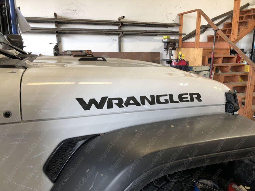 0696 2pcs 23 Wrangler Hood Decal Vinyl Graphic Jeep Wrangler
