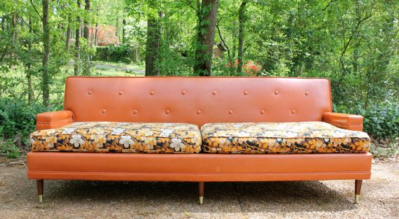 Wonderful SOLD Peggy   A Mad Men / Mid Century Orange Vinyl And Floral Fabric Sofa  Couch   Retro, Kitsch, Vintage