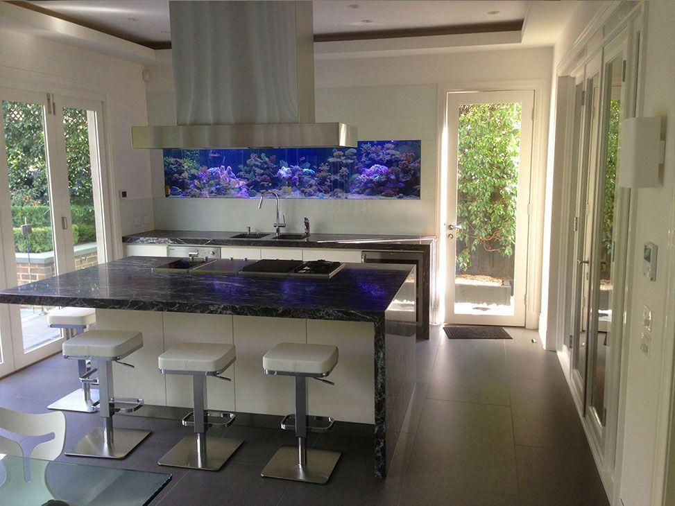 Marine Aquarium In Set Into Contemporary Kitchen | Aquatecture By  Reeflections Aquarium