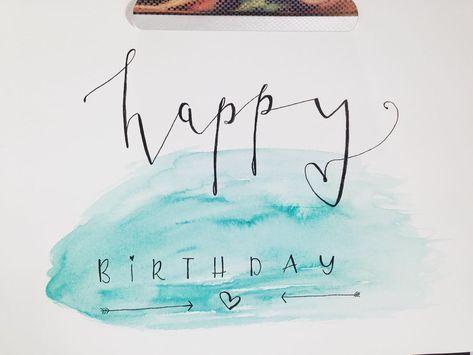 DIY Geburtstagskarte mit Happy Birthday Schriftzug - handgeschriebene Karte - Handlettering-Anleitung mit Video und Materialempfehlung auf eineckig.com #diygeburtstagsgeschenke