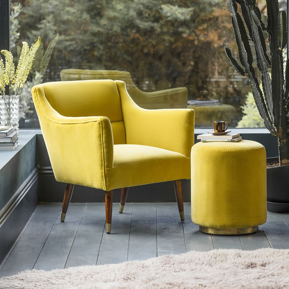 Carnaby Footstool in Mustard Yellow Velvet Footstool
