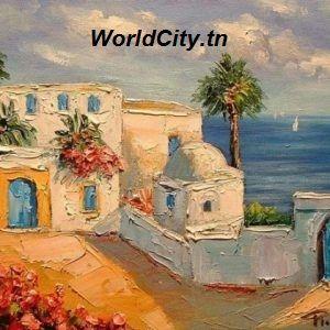 Tableau de Sidi Bou Said Tunisie | Tableaux de peinture en ...