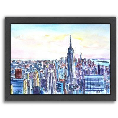 Americanflat 'NYC Manhattan Skyline Neu' by M Bleichner Framed Original Painting Size: