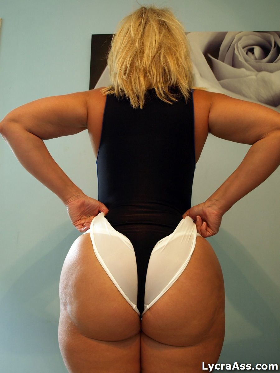 "lycraspandexass: "" big ass in lycra booty shorts and thong leotard"