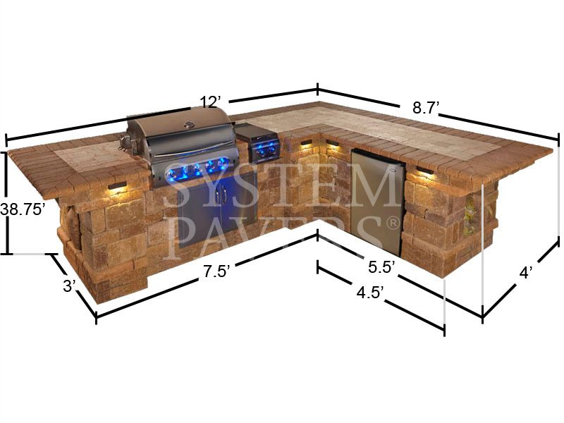 Capri island bbq dimensions frontview framing for Barbecue islands for sale