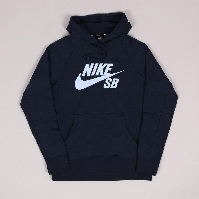 21cdf4bb9c71 Nike SB Icon Hoodie Obsidiam Hydrogen Blue   Moda masculina ...