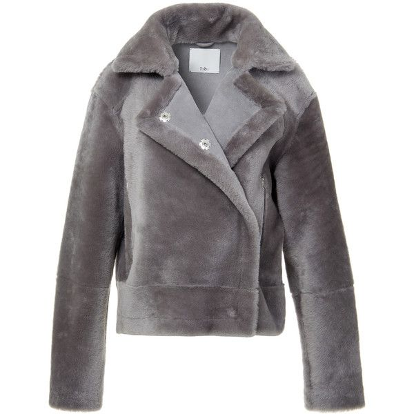 52499d614 Tibi Ice Grey Shearling Aviator Jacket ($1,680) ❤ liked on Polyvore ...