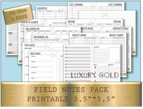Bullet Journal Printable Template Midori Field Notes Notebook