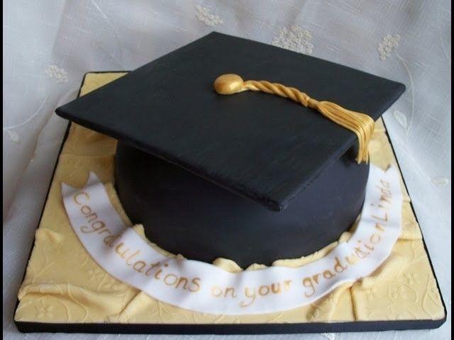 How To Make A Graduation Hat Cake Tutorial Graduation Cap Cake Graduation Cakes Graduation Hat