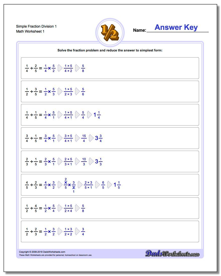 Dividing Fractions These dividing fractions worksheets come in ...
