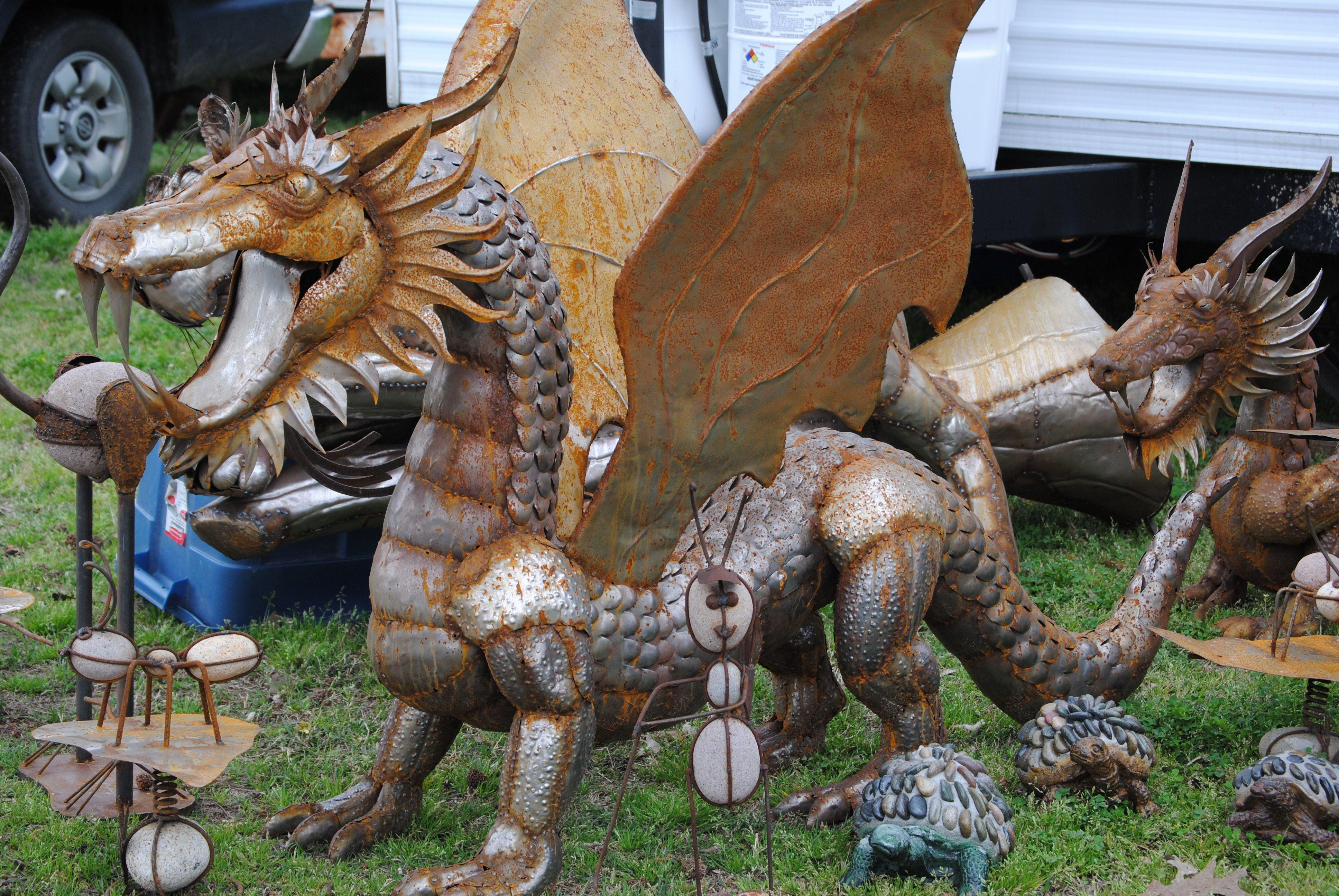 Dragon Yard Art - Metal Dragon Trailer Park Princess