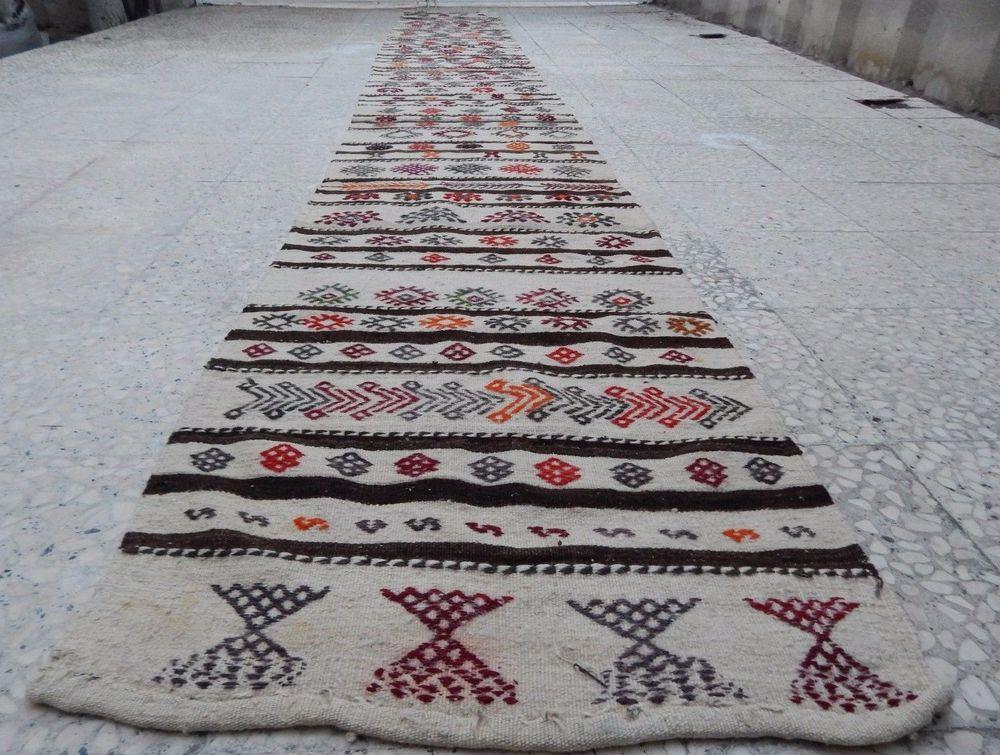 vintage handwoven extra long pastel wool kilim rug hallway runner