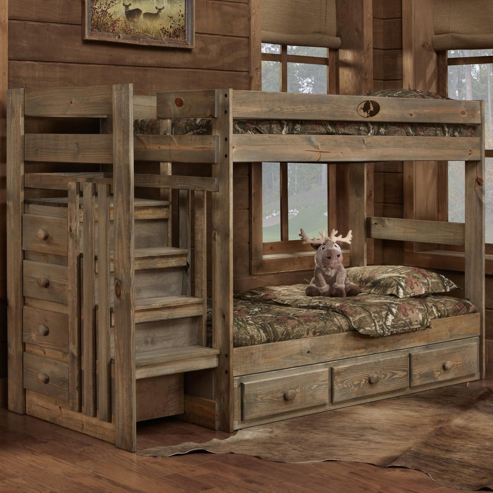 Mossy Oak Twin Stair Bed By Simply Bunk Beds Oak Bunk
