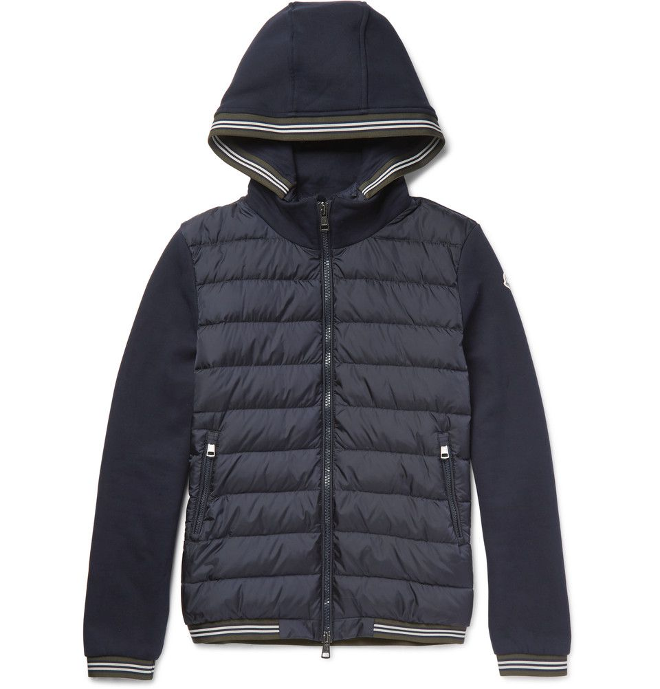 Moncler - Maglia Fleece-Back Cotton-Jersey and Shell Down Jacket