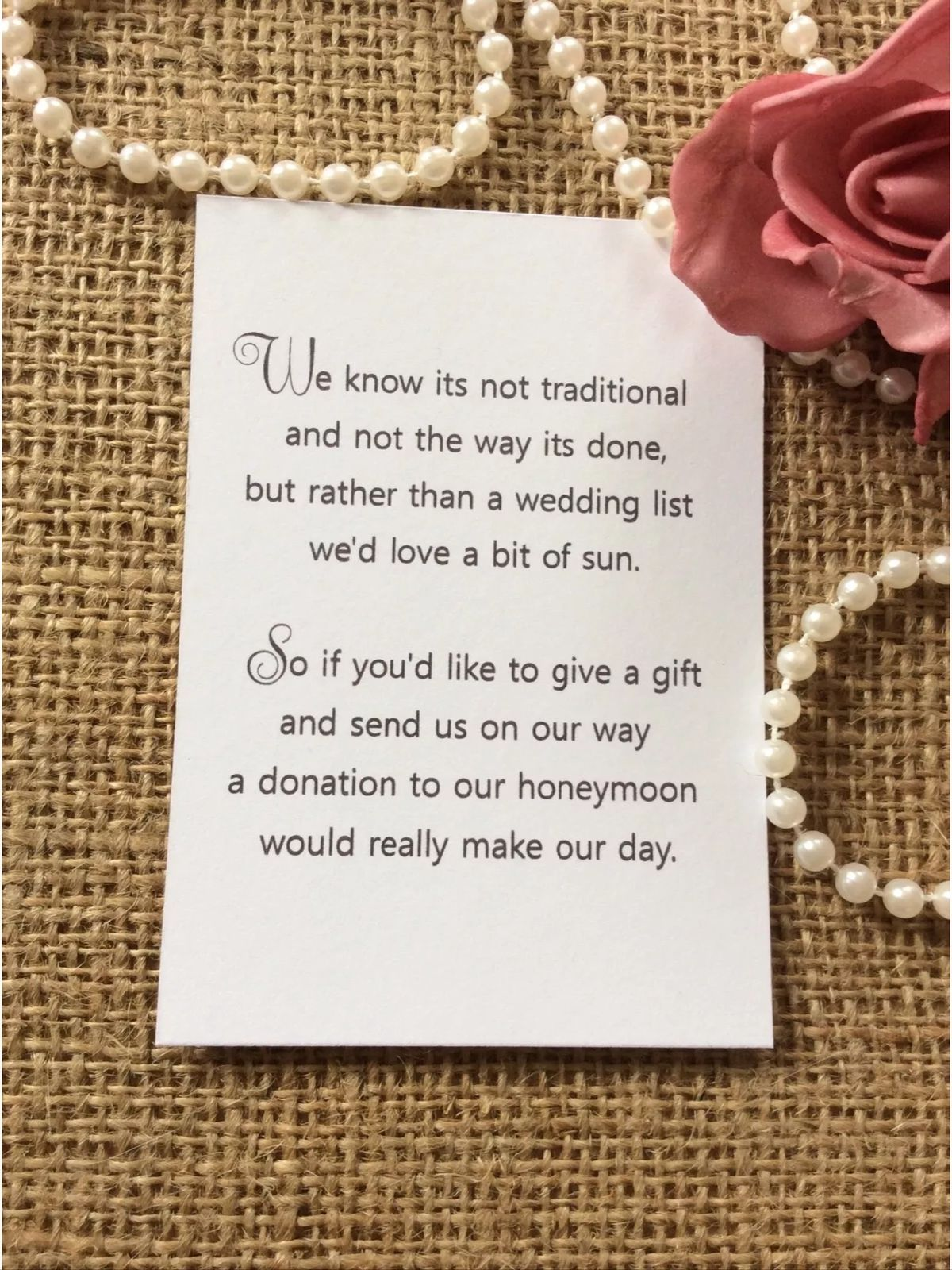 25 50 WEDDING GIFT MONEY POEM SMALL CARDS ASKING FOR MONEY CASH FOR INVITATIONS In Home