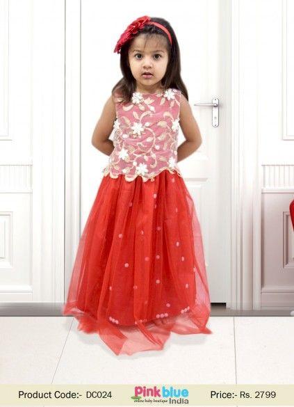 4254ec586c78 Buy Deep Red Designer Gown Dress with Net Corset for Kids in India