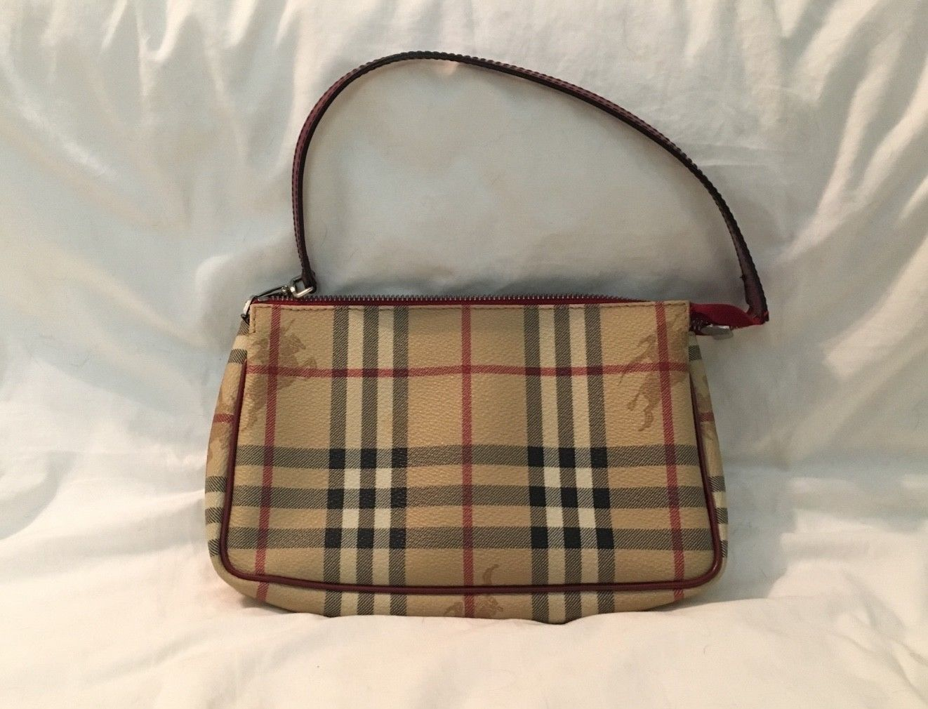 Burberry Handbag Used Beige Leather
