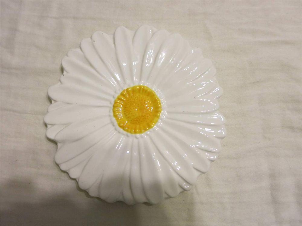 "Teleflora 6.5"" Sunflower Plate Daisy Plate White petals Yello Center Ceramic"