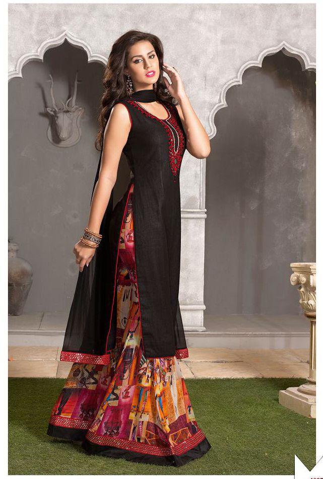 8baf858b76 Black Art Silk #Sharara #Suit | Pakistani Salwar Kameez Designs ...