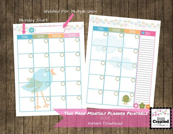 Printable Monthly Calendar  X  Mambi  Etsy Amazing Finds