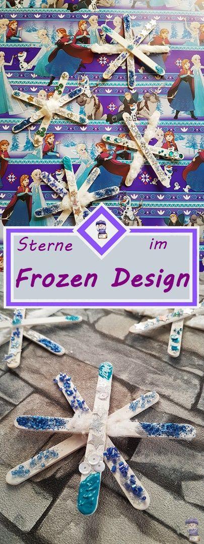 Sterne aus Eisstielen im Design von Die Eiskönigin DIY