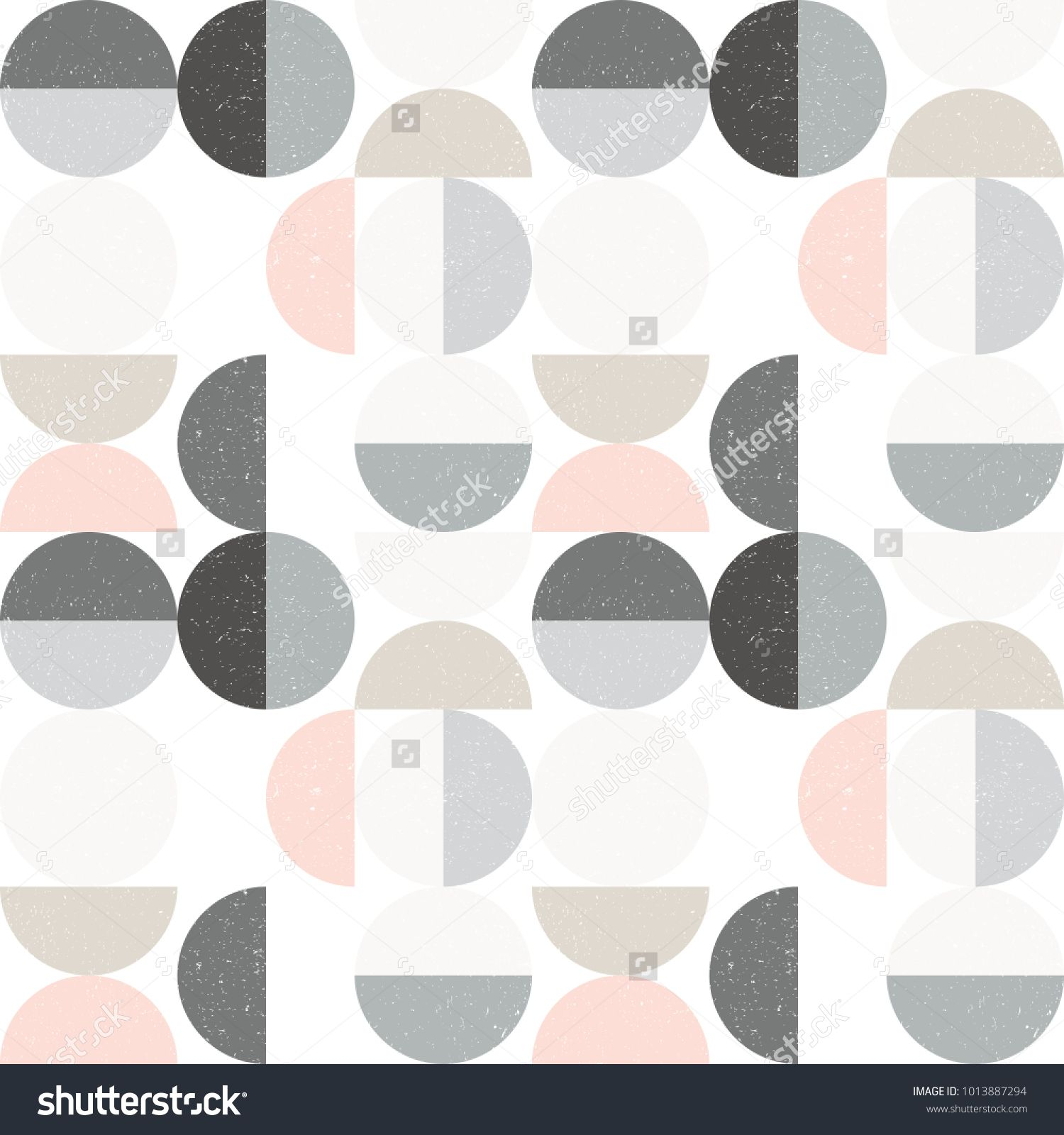 Modern Vector Abstract Seamless Geometric Pattern With Semicircles And Circles In Retro Scandinavian Style Pastel Colors Shapes With Worn Out Texture On White