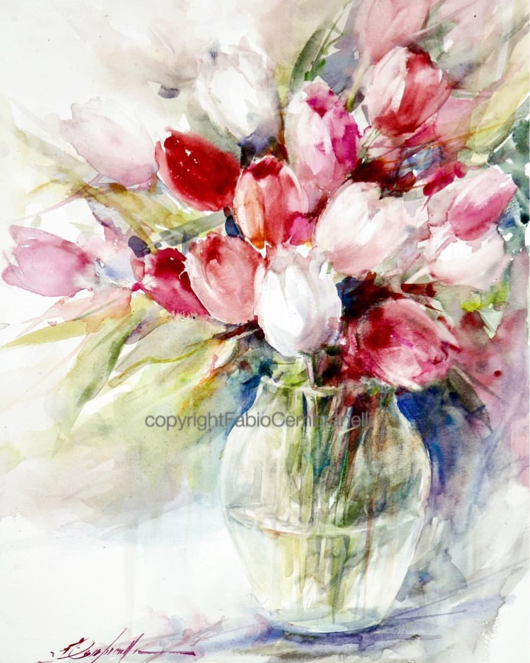 Fiori Watercolor.Tulips 8 Watercolor Watercolour Aquarelle Akvarell Arte Art