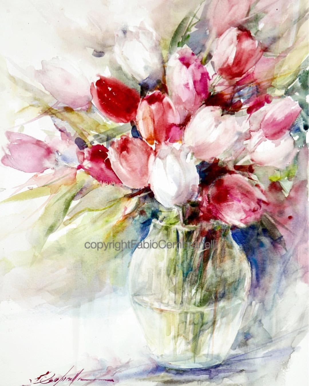 Tulips 8 Watercolor Watercolour Aquarelle Akvarell Arte Art