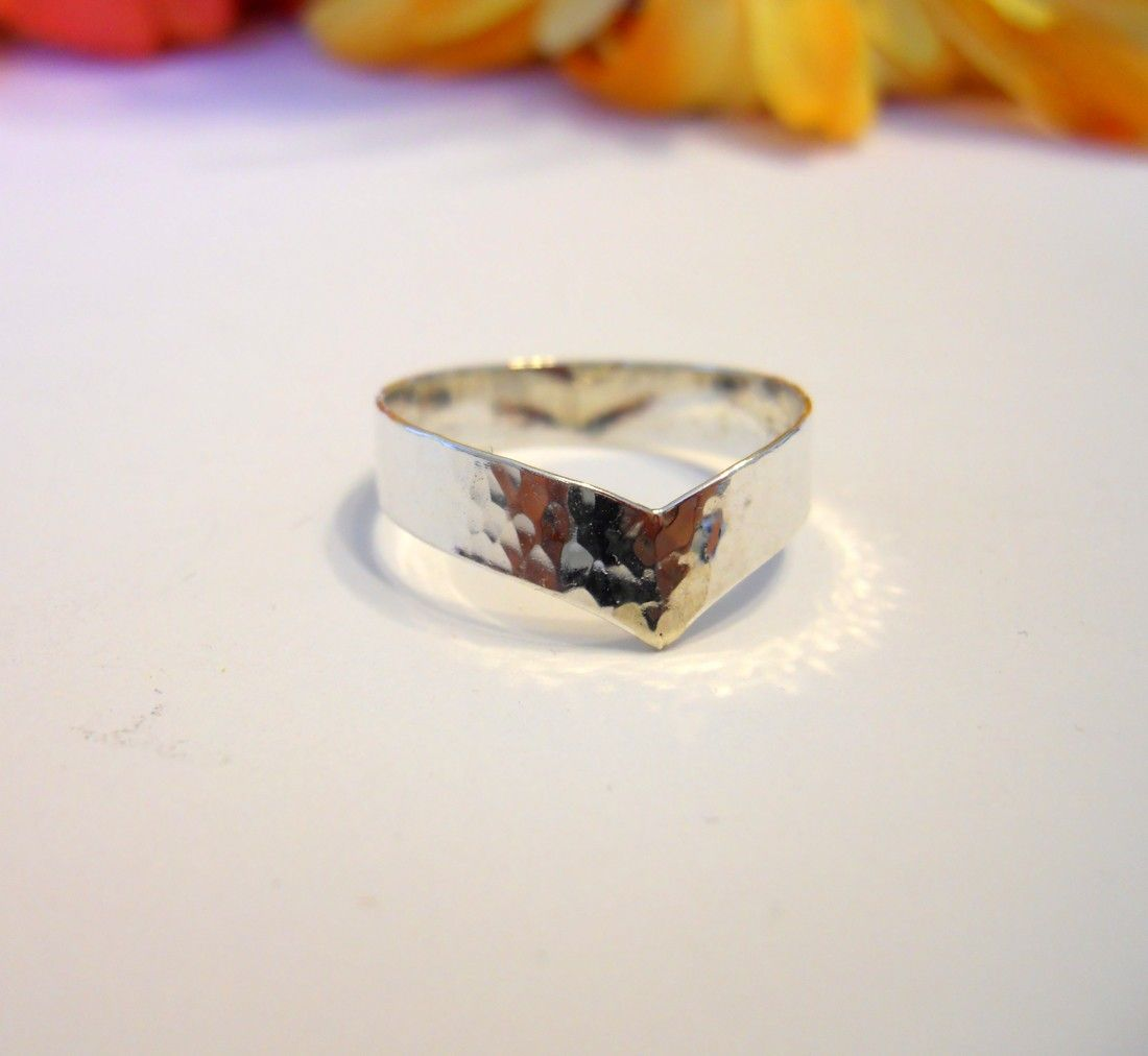 Hammered Wide V Band Ring 925 Sterling Silver. $29.00, via Etsy.